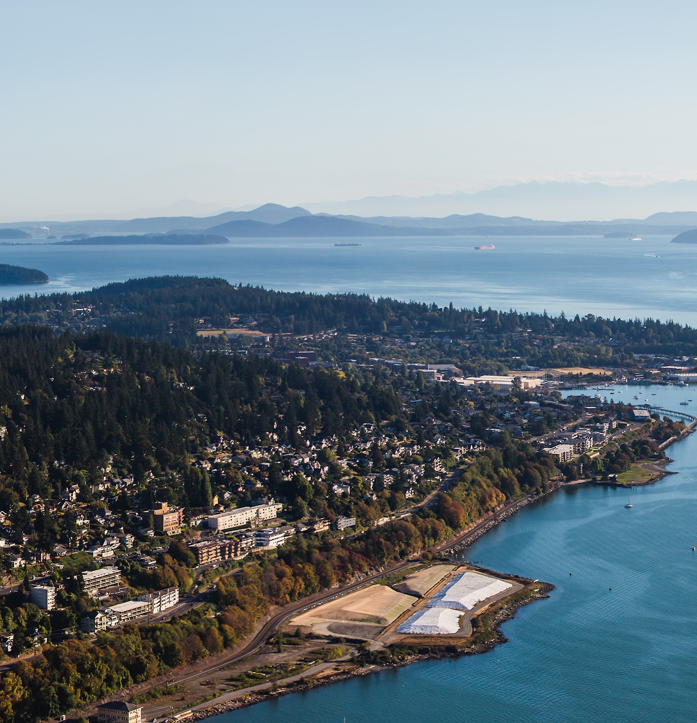 aerial view of WWU from Bellingham Bay